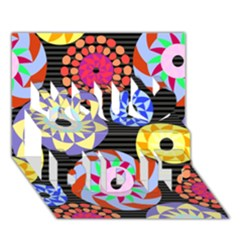 Colorful Retro Circular Pattern You Did It 3d Greeting Card (7x5) by DanaeStudio