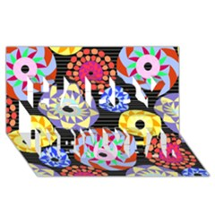 Colorful Retro Circular Pattern Happy New Year 3d Greeting Card (8x4) by DanaeStudio