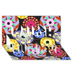 Colorful Retro Circular Pattern Laugh Live Love 3d Greeting Card (8x4) by DanaeStudio