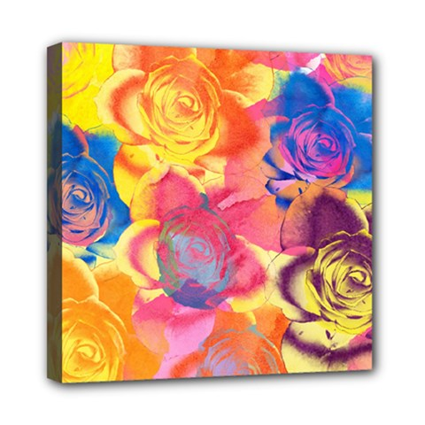Pop Art Roses Mini Canvas 8  x 8