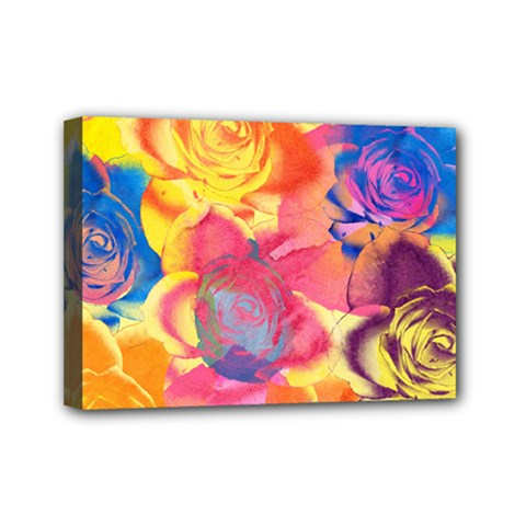 Pop Art Roses Mini Canvas 7  x 5