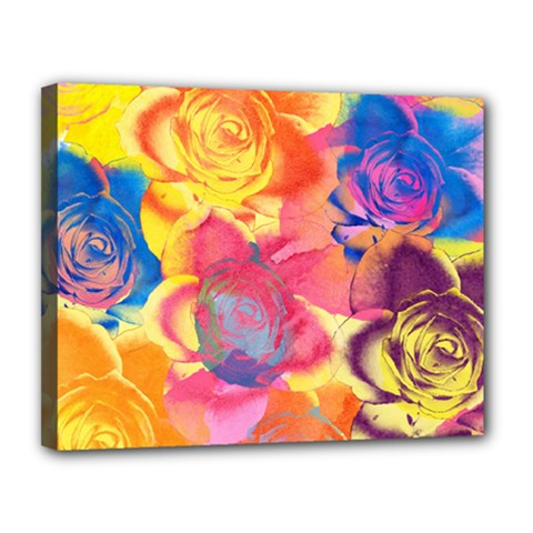 Pop Art Roses Canvas 14  x 11