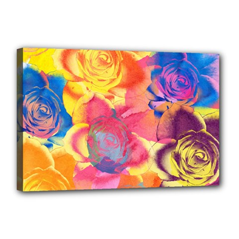 Pop Art Roses Canvas 18  x 12