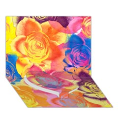 Pop Art Roses Heart Bottom 3D Greeting Card (7x5)