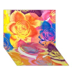 Pop Art Roses Circle Bottom 3D Greeting Card (7x5)