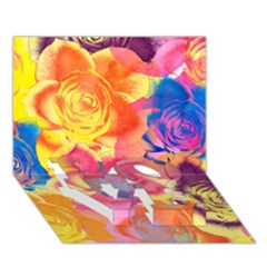 Pop Art Roses LOVE Bottom 3D Greeting Card (7x5)