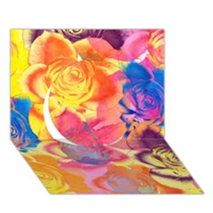 Pop Art Roses Circle 3D Greeting Card (7x5)