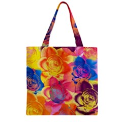 Pop Art Roses Zipper Grocery Tote Bag by DanaeStudio