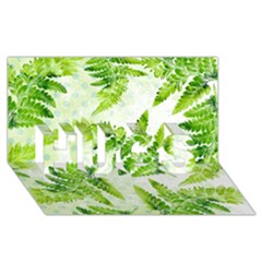 Fern Leaves Hugs 3d Greeting Card (8x4) by DanaeStudio