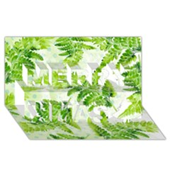 Fern Leaves Merry Xmas 3d Greeting Card (8x4) by DanaeStudio