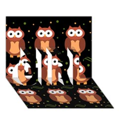 Halloween brown owls  GIRL 3D Greeting Card (7x5)