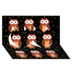 Halloween Brown Owls  Twin Hearts 3d Greeting Card (8x4) by Valentinaart