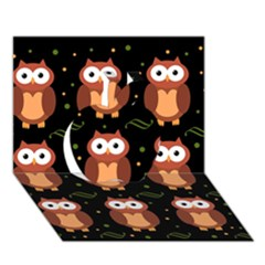 Halloween Brown Owls  Apple 3d Greeting Card (7x5) by Valentinaart