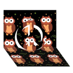 Halloween Brown Owls  Peace Sign 3d Greeting Card (7x5) by Valentinaart