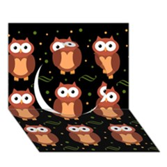 Halloween Brown Owls  Circle 3d Greeting Card (7x5) by Valentinaart