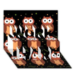 Halloween Brown Owls  Work Hard 3d Greeting Card (7x5) by Valentinaart