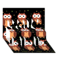 Halloween brown owls  You Did It 3D Greeting Card (7x5)