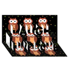 Halloween Brown Owls  Laugh Live Love 3d Greeting Card (8x4) by Valentinaart