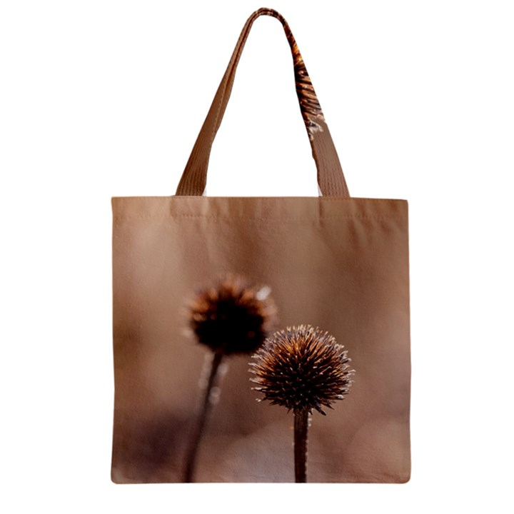 Withered Globe Thistle In Autumn Macro Zipper Grocery Tote Bag