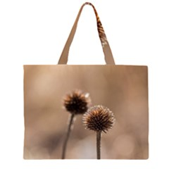 Withered Globe Thistle In Autumn Macro Zipper Large Tote Bag
