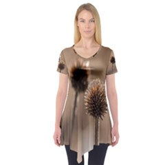Withered Globe Thistle In Autumn Macro Short Sleeve Tunic  by wsfcow