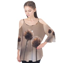 Withered Globe Thistle In Autumn Macro Flutter Tees by wsfcow
