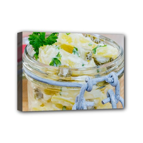 Potato Salad In A Jar On Wooden Mini Canvas 7  X 5  by wsfcow