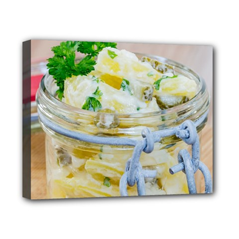 Potato salad in a jar on wooden Canvas 10  x 8