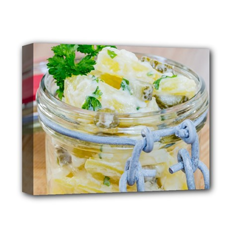 Potato Salad In A Jar On Wooden Deluxe Canvas 14  X 11  by wsfcow