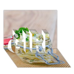 Potato salad in a jar on wooden GIRL 3D Greeting Card (7x5)