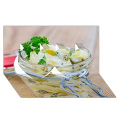 Potato Salad In A Jar On Wooden Twin Hearts 3d Greeting Card (8x4) by wsfcow