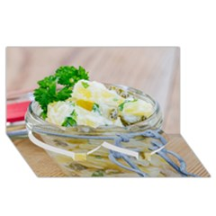Potato Salad In A Jar On Wooden Twin Heart Bottom 3d Greeting Card (8x4) by wsfcow