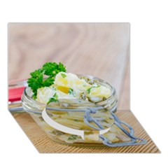 Potato Salad In A Jar On Wooden Circle Bottom 3d Greeting Card (7x5) by wsfcow