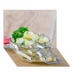 Potato Salad In A Jar On Wooden Love Bottom 3d Greeting Card (7x5) by wsfcow