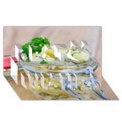 Potato salad in a jar on wooden Best Wish 3D Greeting Card (8x4)