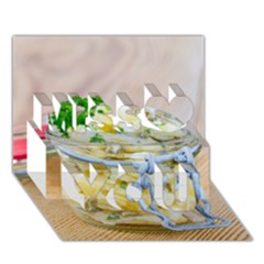 Potato salad in a jar on wooden Miss You 3D Greeting Card (7x5)