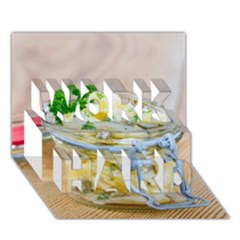 Potato salad in a jar on wooden WORK HARD 3D Greeting Card (7x5)