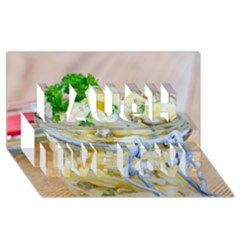Potato salad in a jar on wooden Laugh Live Love 3D Greeting Card (8x4)