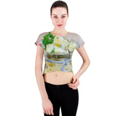Potato Salad In A Jar On Wooden Crew Neck Crop Top by wsfcow