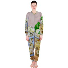 Potato Salad In A Jar On Wooden Onepiece Jumpsuit (ladies)  by wsfcow