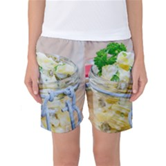 Potato salad in a jar on wooden Women s Basketball Shorts