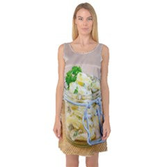 Potato Salad In A Jar On Wooden Sleeveless Satin Nightdress by wsfcow