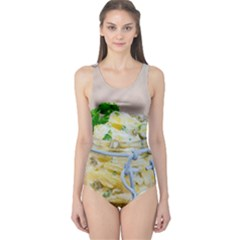 Potato Salad In A Jar On Wooden One Piece Swimsuit by wsfcow