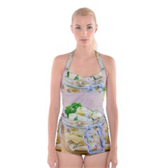 Potato Salad In A Jar On Wooden Boyleg Halter Swimsuit  by wsfcow