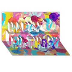 Anemones Happy Birthday 3d Greeting Card (8x4) by DanaeStudio