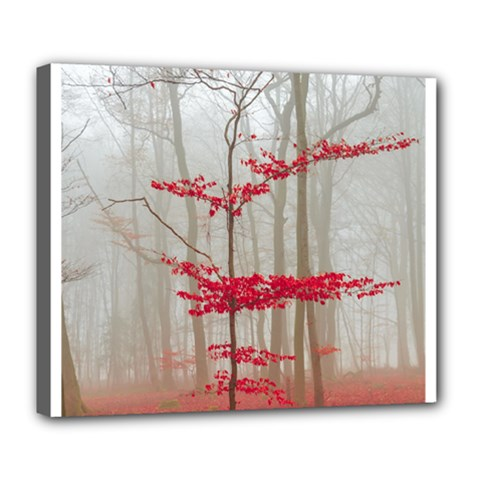 Magic forest in red and white Deluxe Canvas 24  x 20