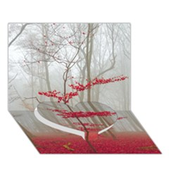 Magic forest in red and white Heart Bottom 3D Greeting Card (7x5)