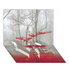 Magic Forest In Red And White Love Bottom 3d Greeting Card (7x5) by wsfcow