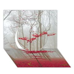 Magic Forest In Red And White Circle 3d Greeting Card (7x5) by wsfcow