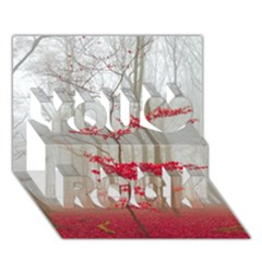Magic forest in red and white You Rock 3D Greeting Card (7x5)